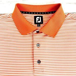 Footjoy FJ Men's Golf Polo Shirt Orange Striped XL